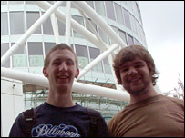 Nathan Southall and James Bandenbury in front of the Rotunda