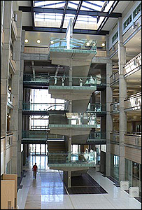 The inside of the new college building
