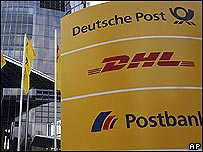 Sign outside Deutsche Post's headquarters