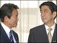 Taro Aso (left) with former Prime Minister Shinzo Abe (right)