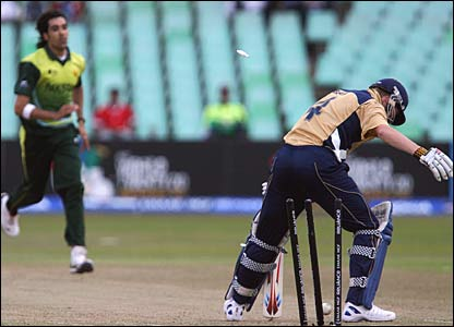 John Blain is bowled by Umar Gul