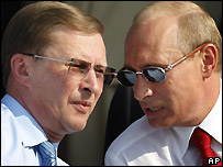 Sergei Ivanov (left) and Vladimir Putin - 21/08/2007