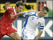 Slovakia striker Marek Mintal gets the better of Wales defender Sam Ricketts