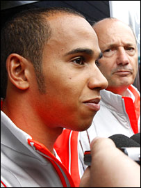 McLaren driver Lewis Hamilton and team boss Ron Dennis