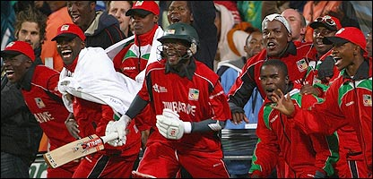 The Zimbabwe team went on a lap of honour after their famous victory