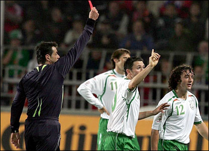 The Republic of Ireland's Stephen Hunt is sent off