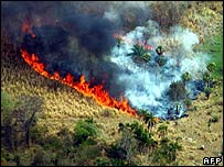 Aerial view of Paraguay fires