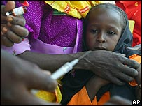 Children being immunised