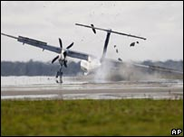 SAS plane makes emergency landing at Aalborg airport, Denmark - 9/9/07