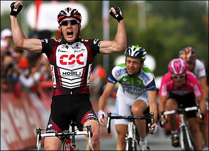 Matthew Goss of Australia and Team CSC celebrates his win on the third stage of the Tour of Britain