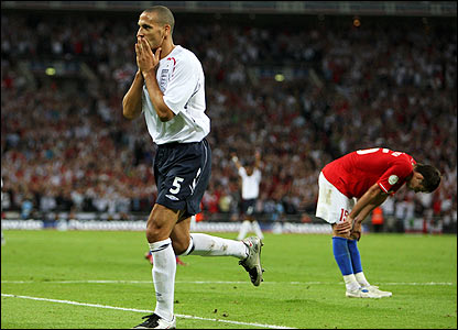 Rio Ferdinand celebrates scoring England's third goal