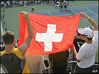 Swiss fans of tennis star Roger Federer