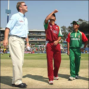 Bangladesh captain Mohammad Ashraful wins the toss in Johannesburg