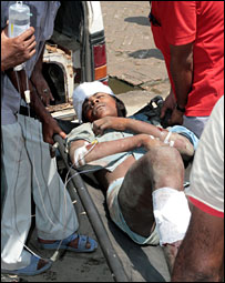 A man who survived the lynching at Vaishali district, Bihar, being taken to the hospital [Pic: Prashant Ravi]