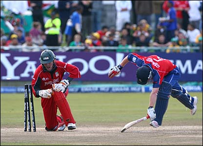 Paul Collingwood is run out