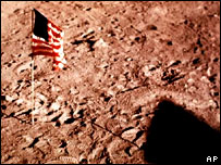 Flag left on the Moon, AP