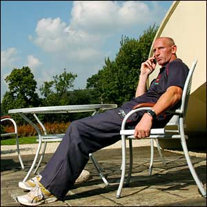 Back in the Vale of Glamorgan training base outside Cardiff, Gareth Thomas relaxes before the big game at the Millennium Stadium