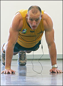 Australia captain Stirling Mortlock continues preparing with his powerful Wallabies squad