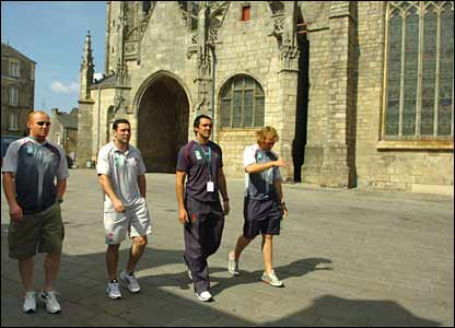 Wales enjoy the historic sites of St Nazaire after their opening win over Canada
