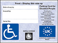 Photo of the new style Blue Badge