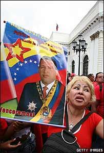 Manifestación en Caracas de seguidores de Hugo Chávez