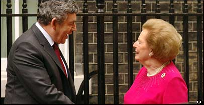Gordon Brown welcomes Lady Thatcher to Downing Street