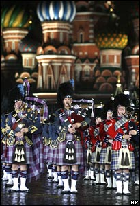 Pipers perform in front of St Basil's Cathedral in Moscow