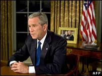 George W Bush delivers TV address from Oval Office