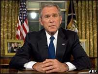 بوش في المكتب البيضاوي خلال الخطاب