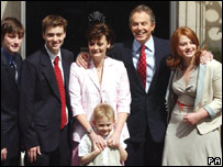 Tony Blair and his family on the day after the general election