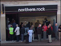 Queue at Northern Rock branch