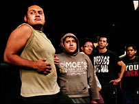 Victor Lopez and other youngsters at the lucha libre school