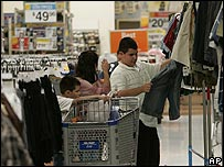 Shoppers at a branch of Wal-Mart