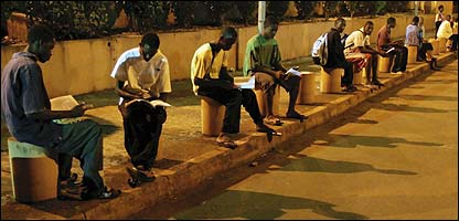 Guinean students studying at G'bessi Airport in Conakry