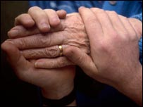 An elderly person's hand in those of a carer