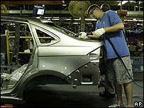 Assembly line at Ford factory in Michigan