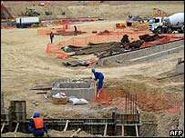 Workers laying down the foundation of the Mbombela Stadium in Nelspruit