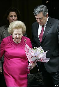 Lady Thatcher and Gordon Brown