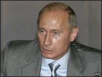 Russian President Vladimir Putin speaks at a meeting in Sochi