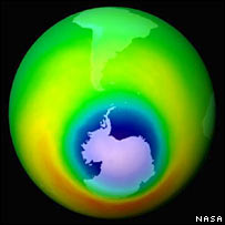 The ozone hole. Image: Nasa / AP