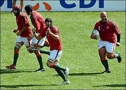 Rui Cordeiro (right) celebrates scoring for Portugal against New Zealand