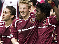 Hearts celebrate Andrew Driver's opening goal