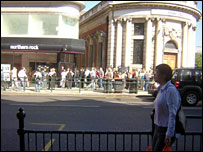 Customers outside Northern Rock, Golders Green, north London
