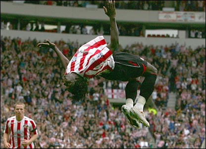 Kenwyne Jones jumps for joy