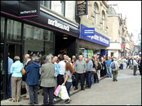 Customers outside Northern Rock, Leeds city centre