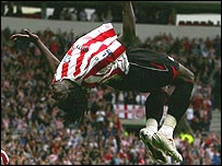 Kenwyne Jones celebrates his first goal for Sunderland with a back-flip