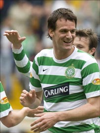 Dutchman Hesselink celebrates the opener for Celtic