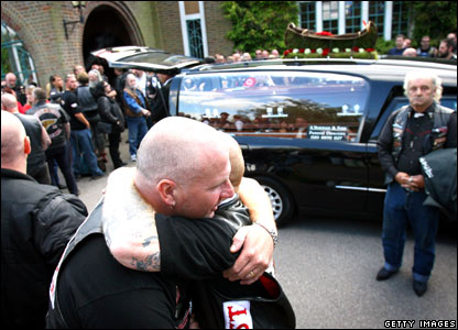 Hells Angels comfort each other at funeral