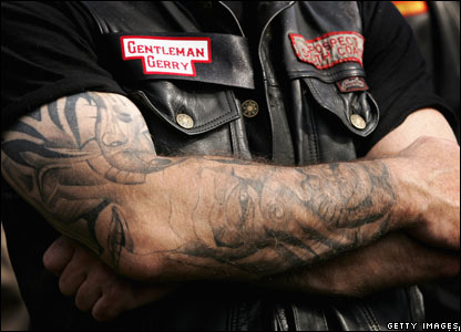 Hells Angel wearing patch with dead comrade's name