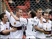 Motherwell celebrate their opening goal at Pittodrie